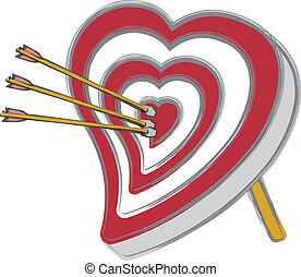 Heart Shaped Bullseye - A heart shaped archery target with...