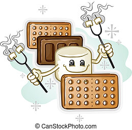 Marshmallow Smores Cartoon Characte - A marshmallow smore...