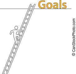 Person climb up ladder achieve high goals - Person climbing...