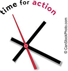 temps, horloge, mouvement, appeler, action