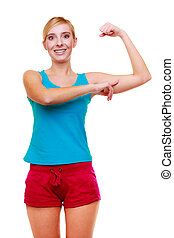 Sport woman fitness girl showing her muscles. Power and...