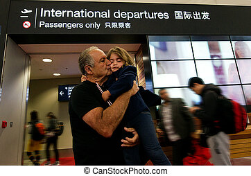 Family farewell in the airport - Grandfather farewell from...