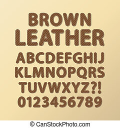Abstract Rounded Brown Leather Font and Numbers, Eps 10...