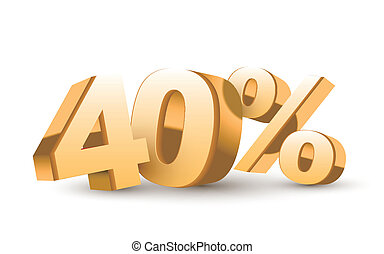 3d shiny golden discount collection - 40 percent isolated...