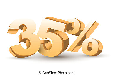 thirty-five percent symbol isolated white background