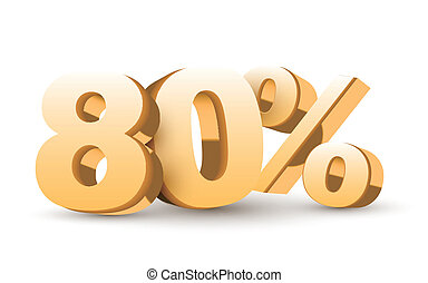 3d shiny golden discount collection - 80 percent isolated...