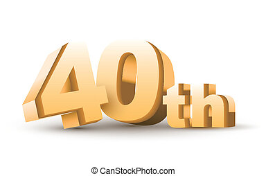 3d anniversary, 40th, isolated on white background