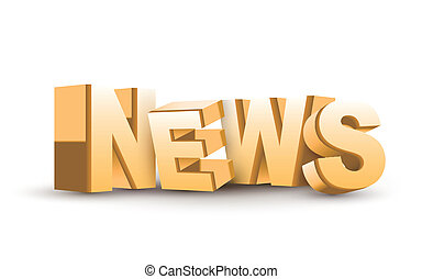 3D News word isolated white background
