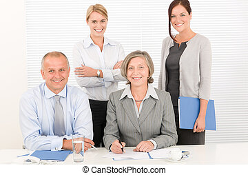 Business team pretty businesswomen with colleagues -...