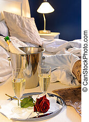 Champagne rose bed celebrate special occasion bedroom -...