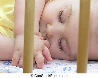 bebé, sueño, Cama