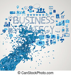 3D paint blue color splash and business strategy background...