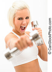 Excited fitness woman workout dumbbells exercise - Shouting...