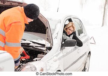 riparare, inverno, Automobile, assistenza, donna, neve, uomo
