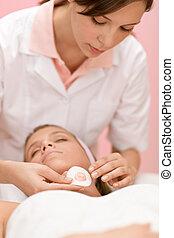 mujer,  -, cosméticos,  facial, cuidado, tratamiento