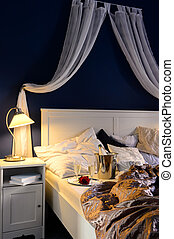Empty unmade luxury bed romantic feeling champagne - Empty...