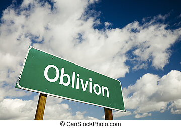Oblivion Road Sign with dramatic clouds and sky