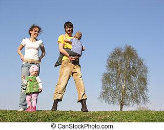 primavera, familia, cuatro