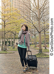 travel woman at street