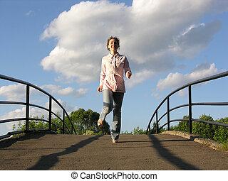 run girl on bridge