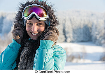 Young woman in grey fur snow winter - Portrait of young...