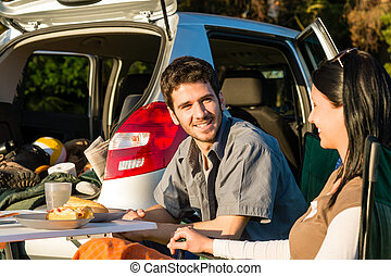 Camping car young couple enjoy picnic countryside - Camping...