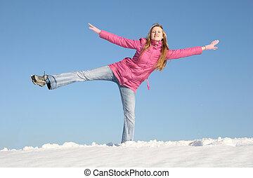 girl winter snow