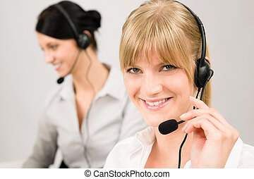 Customer service woman call center phone headset - Customer...