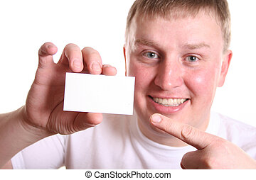 boy with card for text