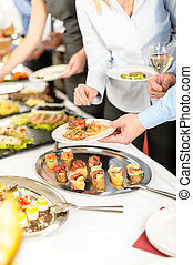 Snacks buffet at business company meeting - Business people...