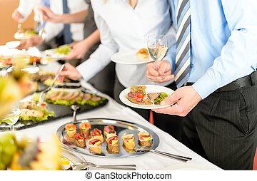 negócio, pessoas, tomar, bufê, aperitivos