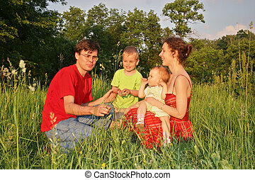 family of four on meadow 2