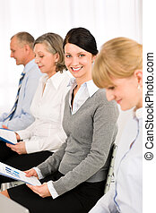 Interview business people waiting study report - Interview...