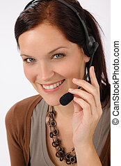 Friendly help desk woman smiling call center operator phone...