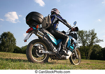 behind biker