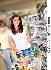 Shopping series - Brown hair woman with cart - Brown hair...