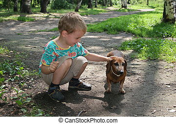 boy with badgerdog 2