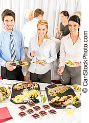 Company meeting catering business people eating - Company...