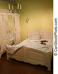 cream bedroom with roses
