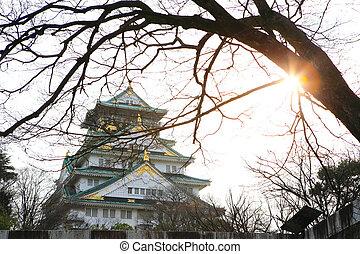 Japão,  Osaka, castelo,  Osaka