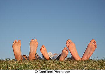 familia, piernas, pasto o césped