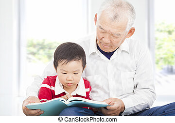 grandfather telling story to his grandson