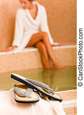 Relax spa pool flip-flops woman wear bathrobe - Flip-flops...
