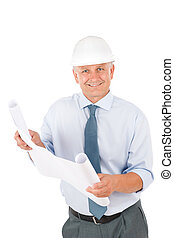 Senior professional architect male with helmet -...