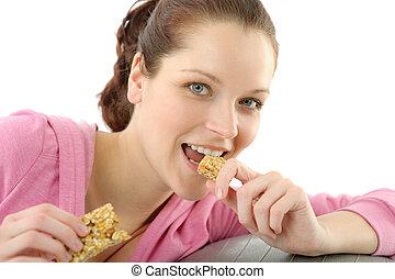 condicão física, mulher, comer, granola,...