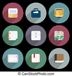 Flat Icons of objects business, office items