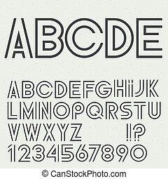 Vector alphabet letters, numbers and punctuation marks