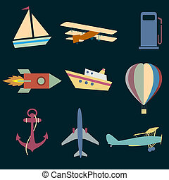 Vector set Icons of transport