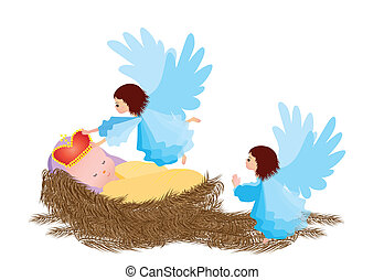 Baby Jesus and angel isolated on white background