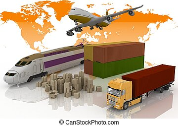 types of transport of transporting are loads 3d illustration...